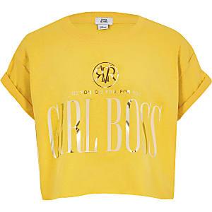 Geel cropped T-shirt met 'Girl boss'-print voor meisjes