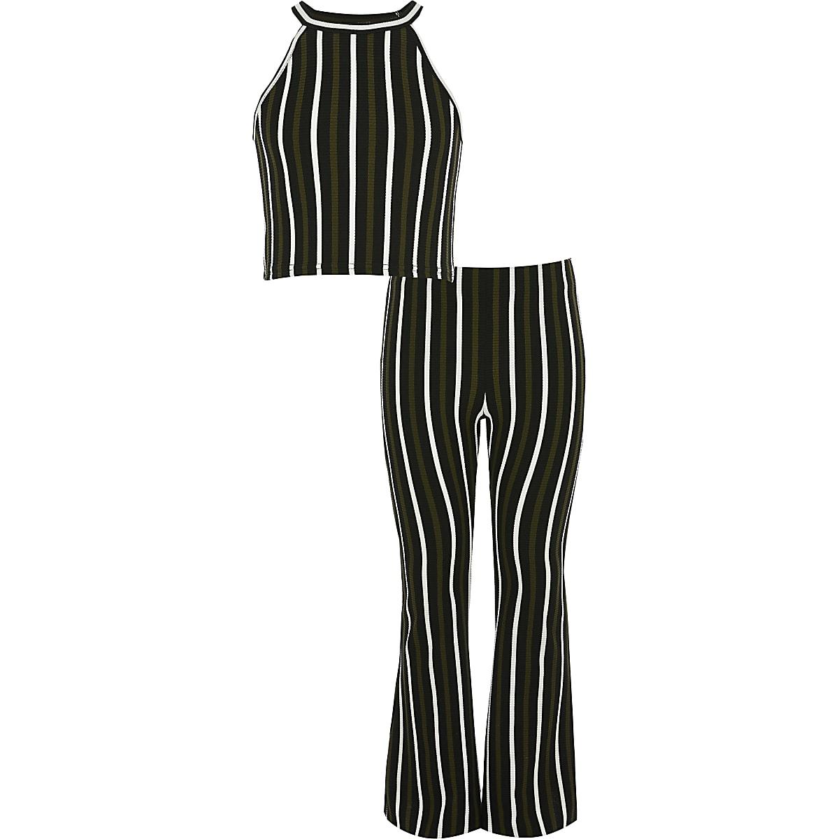 Girls khaki stripe crop top outfit