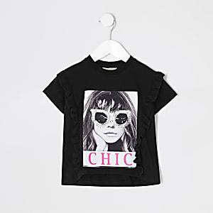 Mini - Outfit met zwart T-shirt met Chic-print voor meisjes