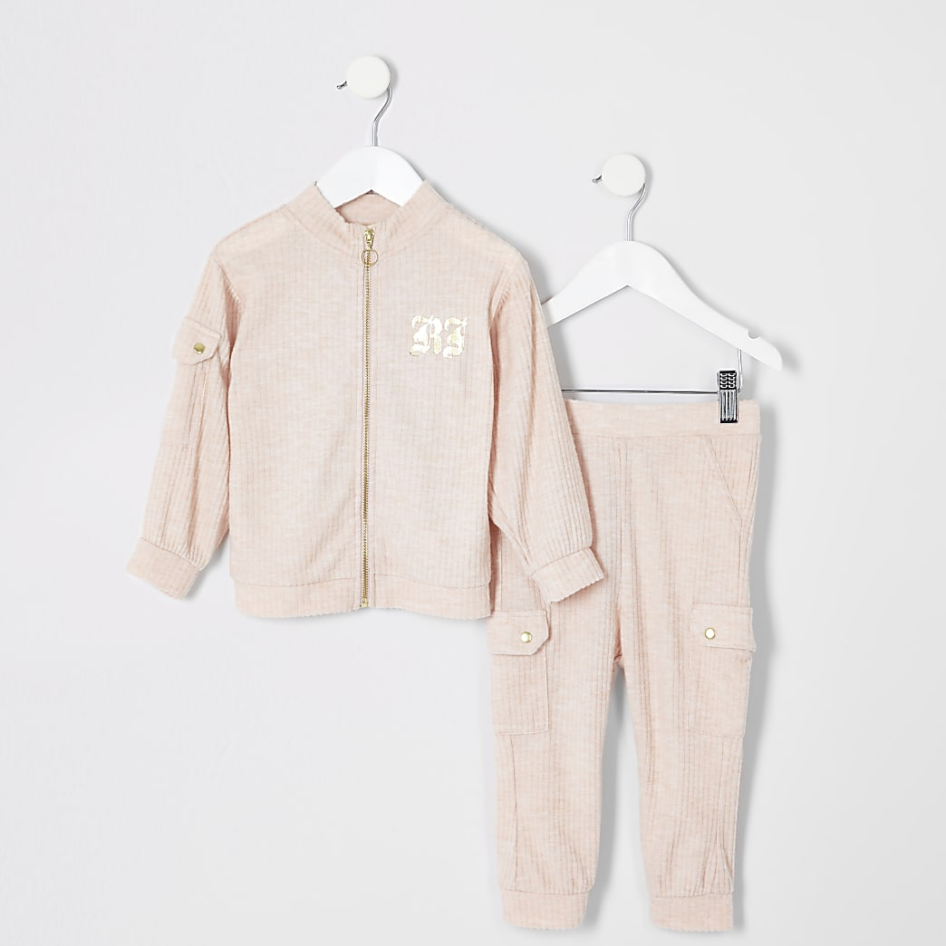 Mini girls pink zip up sweatshirt outfit