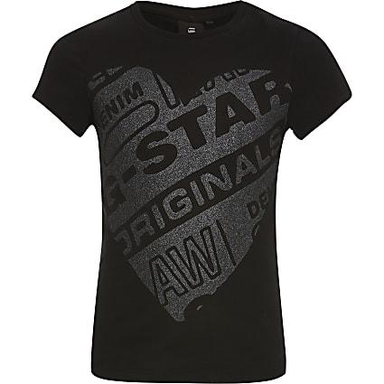 Girls G-Star Raw black heart printed T-shirt