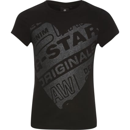 Girls G-Star Raw black heart printed T-shirt