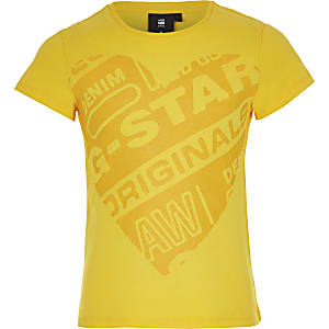 Girls G-Star Raw yellow printed T-shirt
