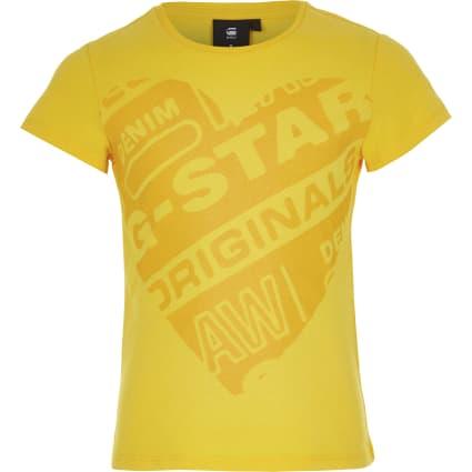 Girls G-Star Raw yellow printed T-shirt