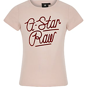 G-Star Raw - T-shirt rose clair avec logo pour fille