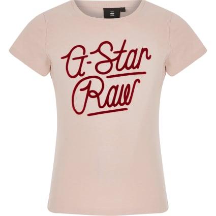 Girls G-Star Raw light pink logo T-shirt