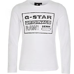 G-Star Raw langärmliges,weißes T-Shirt für Mädchen