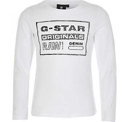 Girls G-Star Raw white long sleeve T-shirt