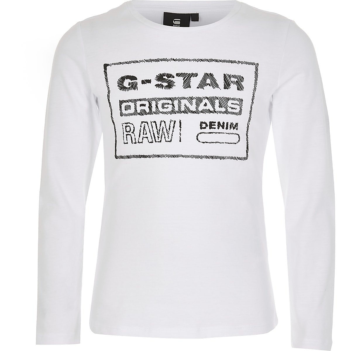 Girls G-Star Raw white long sleeve T-shirt