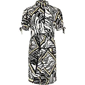 Girls white zebra print shirt dress