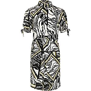 Weißes Blusenkleid mit Zebraprint