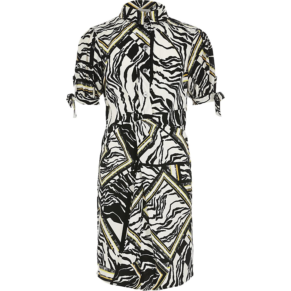 Girls white zebra print shirt dress