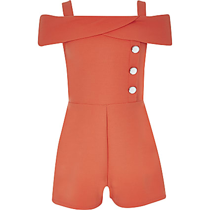 Girls coral bardot playsuit
