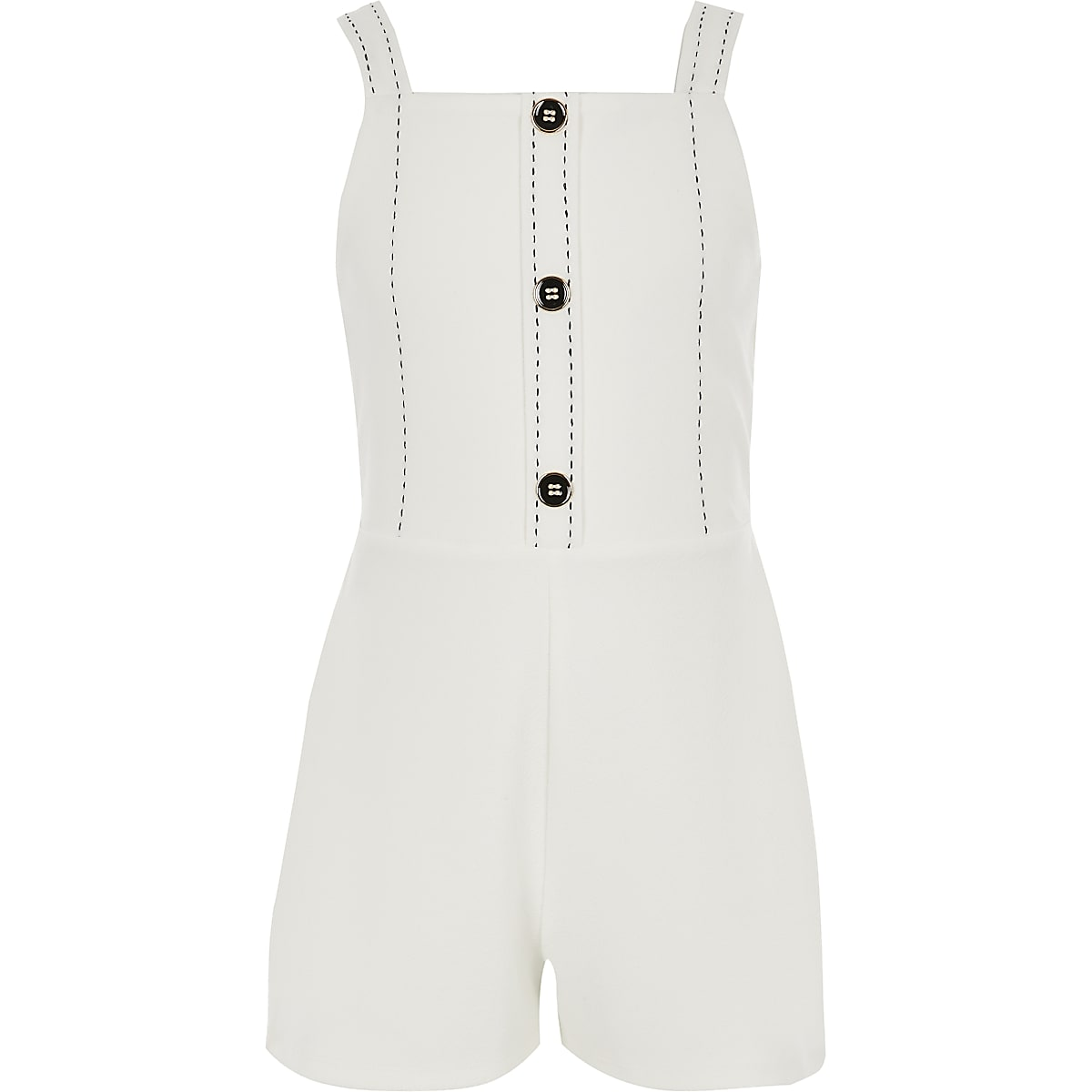 Girls white button front playsuit