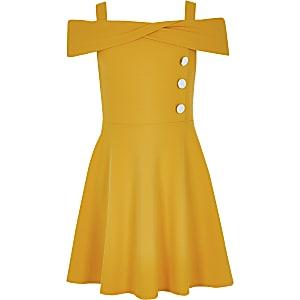Robe Bardot jaune pour fille