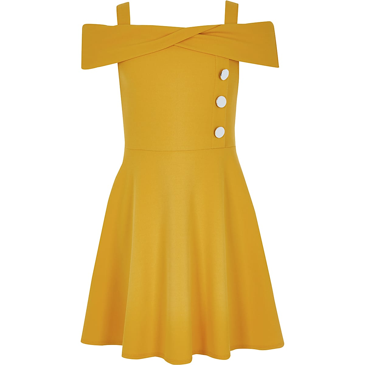 Girls yellow bardot dress