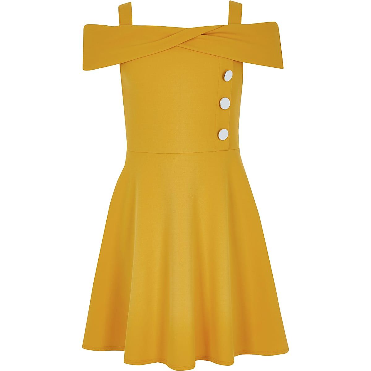 Girls yellow bardot dress