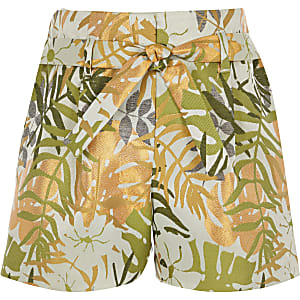 Girls green palm print shorts