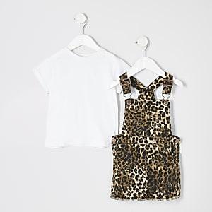 Ensemble avec robe chasuble imprimé léopard mini fille