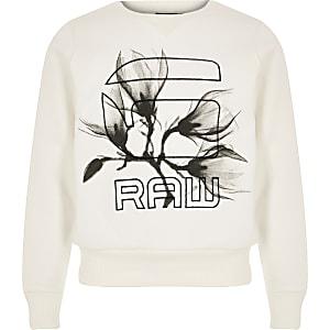 G-Star Raw Sweatshirt in Creme mit Logo für Mädchen