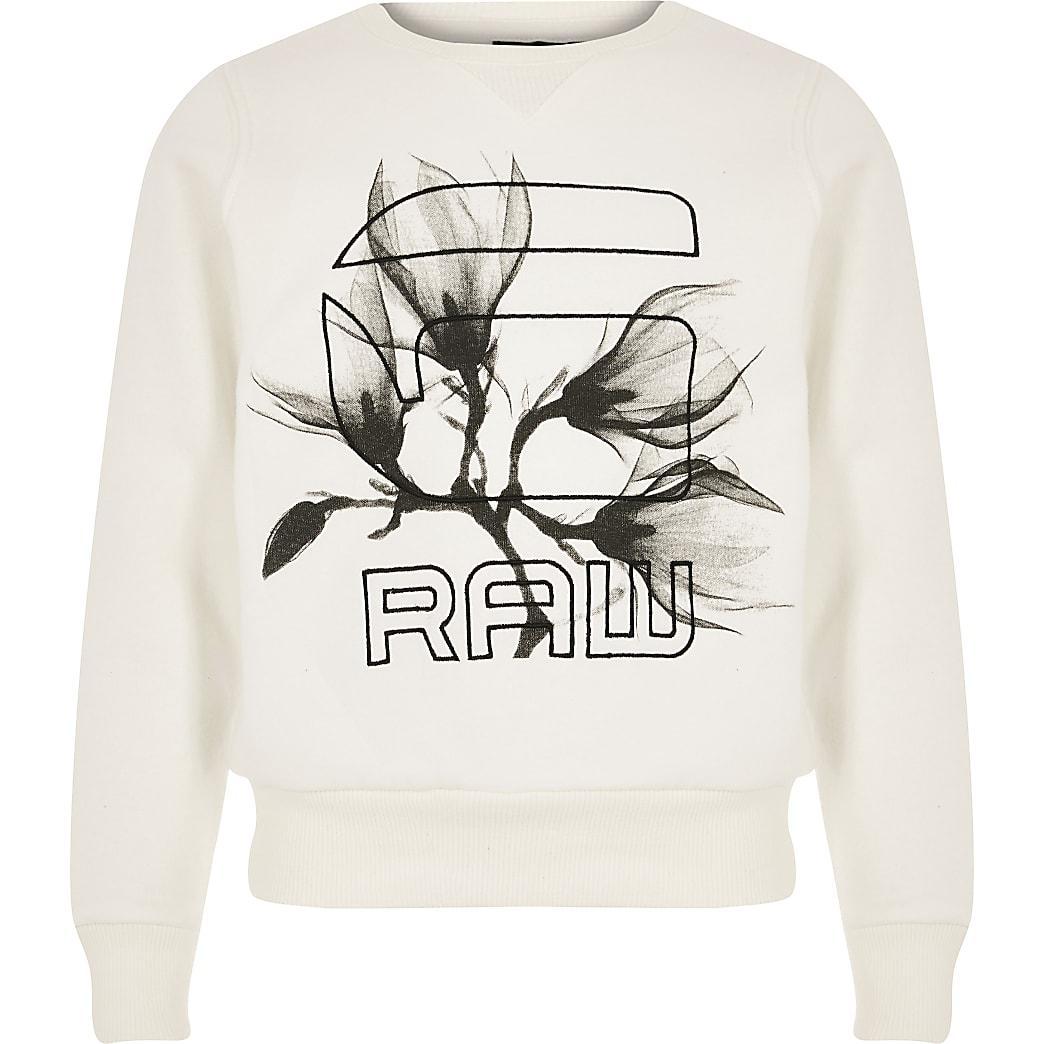 Girls G-Star Raw cream logo sweatshirt