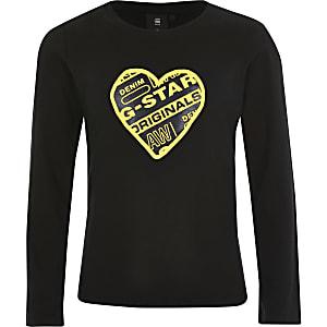 G-Star Raw schwarzes T-Shirt mit Herz-Print für Mädchen