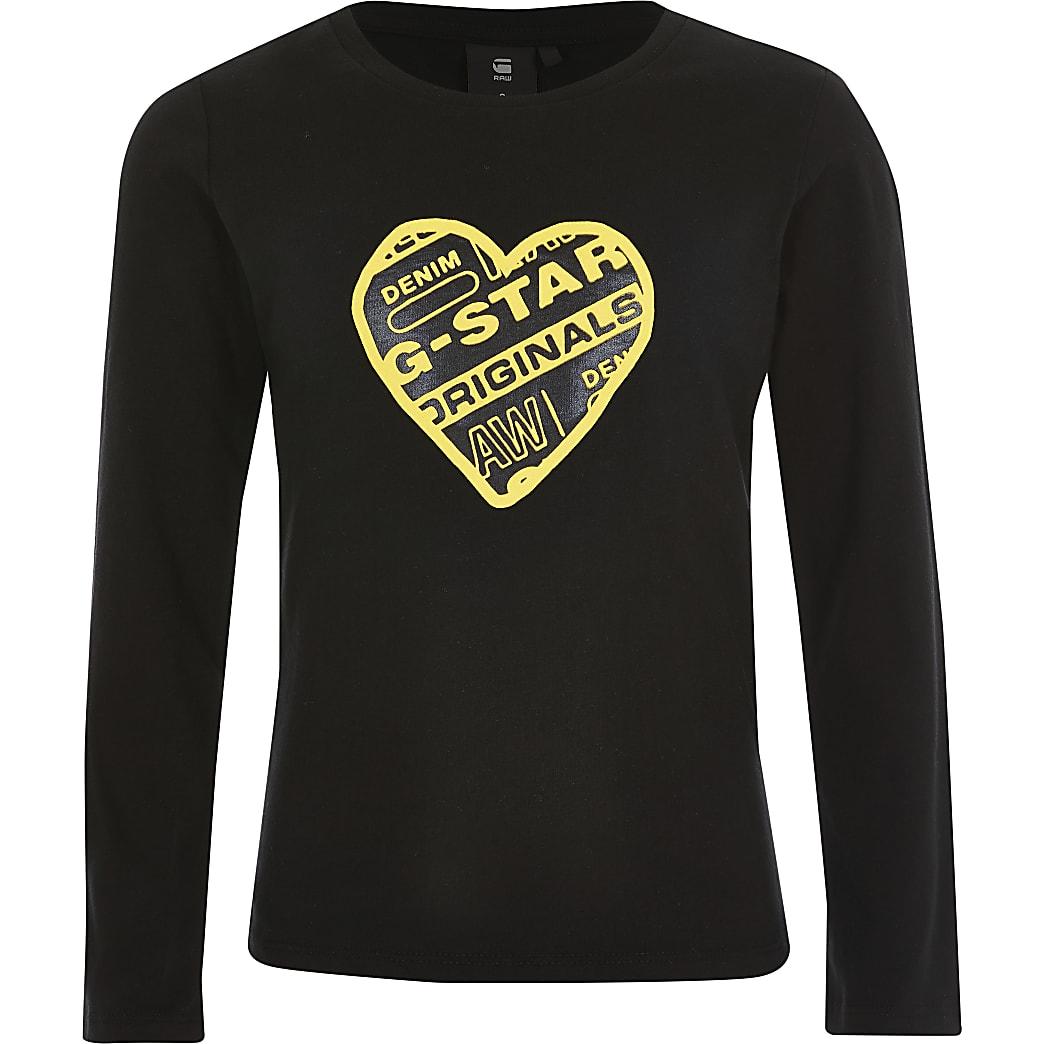 G-Star Raw - Zwart T-shirt met hartprint voor meisjes