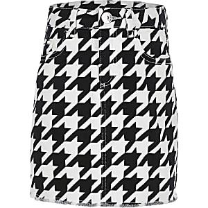 Zwarte denim rok met pied-de-poule-motief voor meisjes