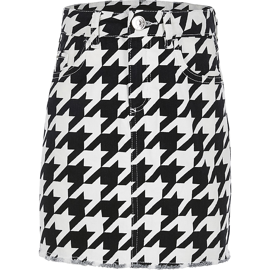 Girls black dogtooth check denim skirt