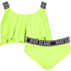 Ensemble de bikini vert fluo pour fille
