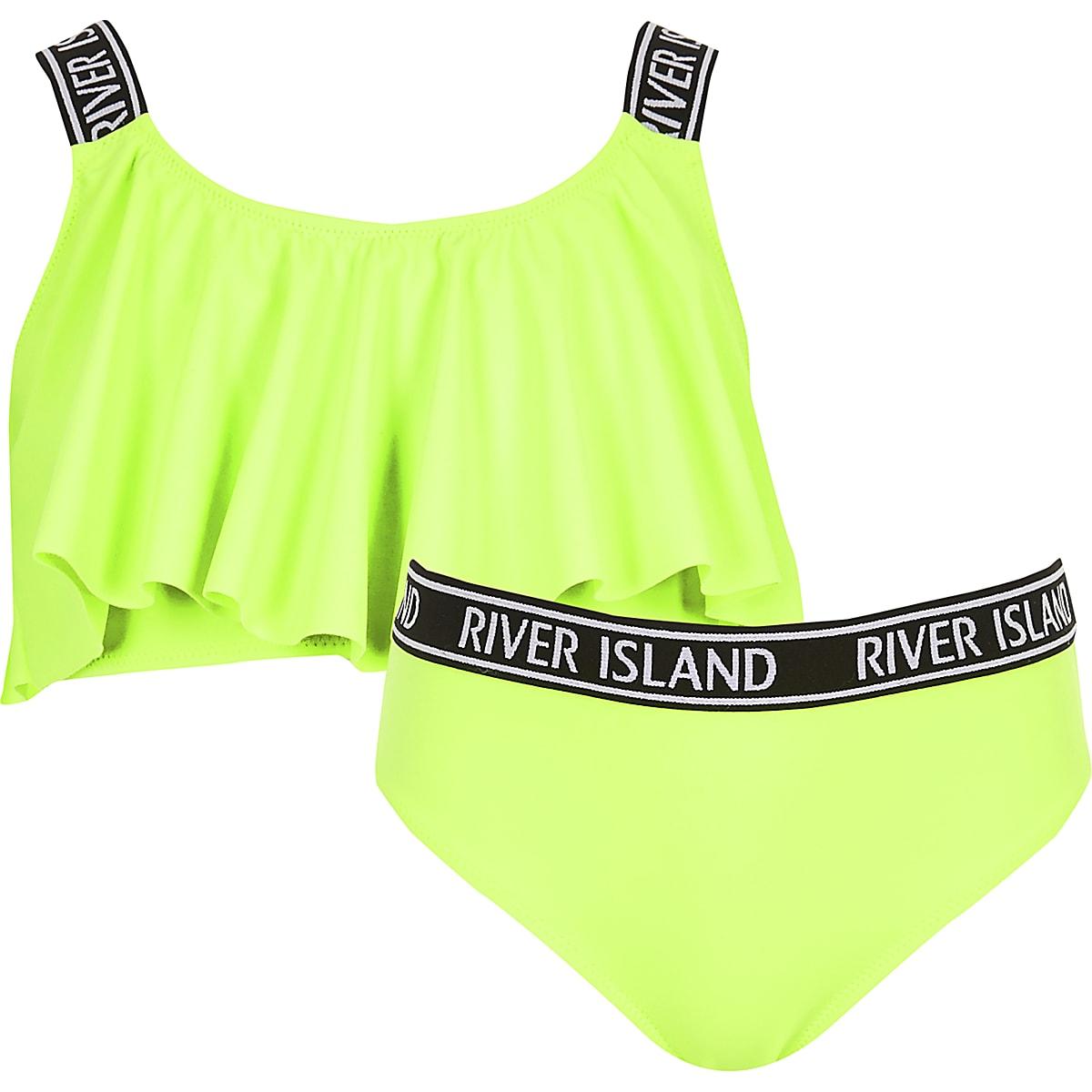 Girls neon green bikini set