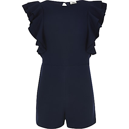 Girls navy ruffle playsuit