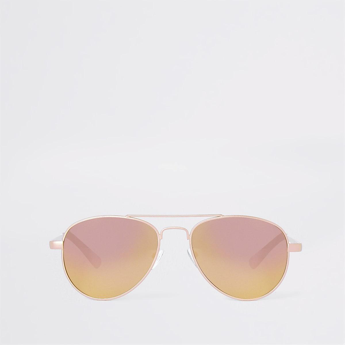 Girls gold tone mirror len aviator sunglasses