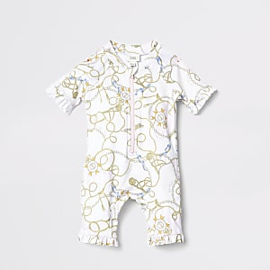 Mini Kids white chain print rashsuit