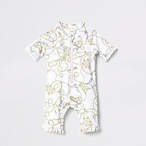 Mini – Weißer Rashsuit mit Ketten-Print