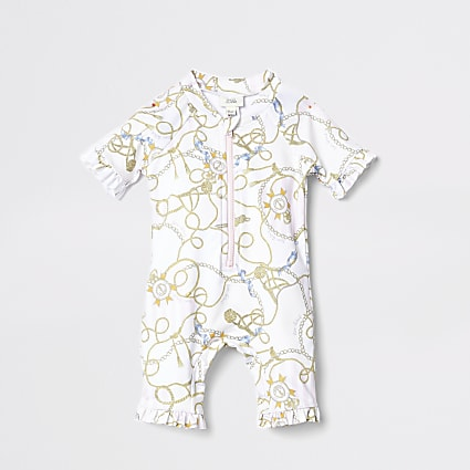 Mini Kids white chain print rash suit