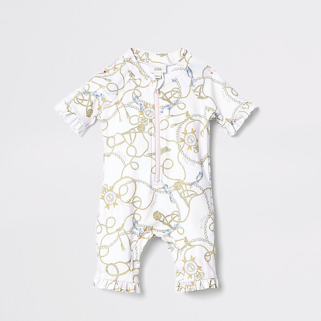 Mini Kids white chain print rash suit