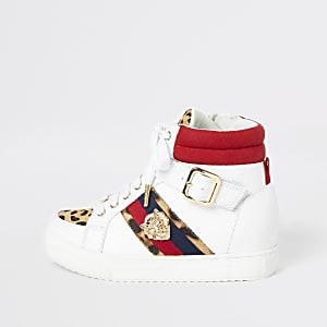Girls white leopard print hi top trainers