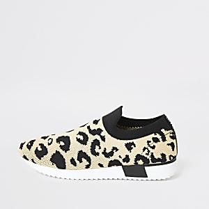 Strick-Sneaker mit Leopardenmuster für Kinder