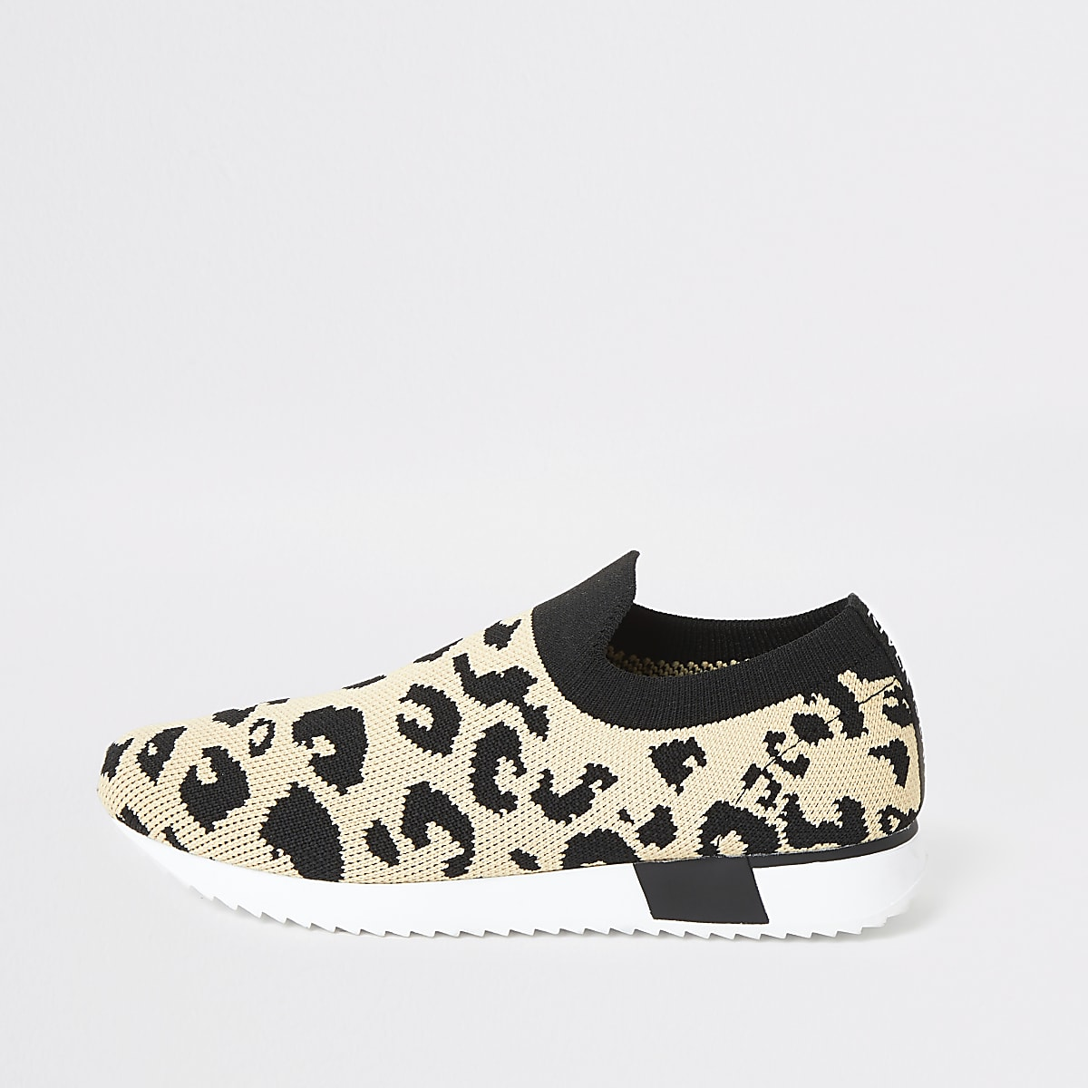 Kids leopard knit runner trainers