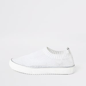 Girls white knit plimsoll