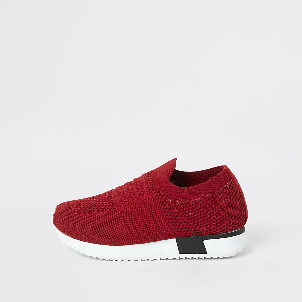 Mini girls red knitted runner trainers