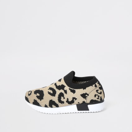 Mini kids leopard knit runner trainers