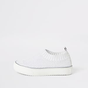 Mini girls white knit plimsoll
