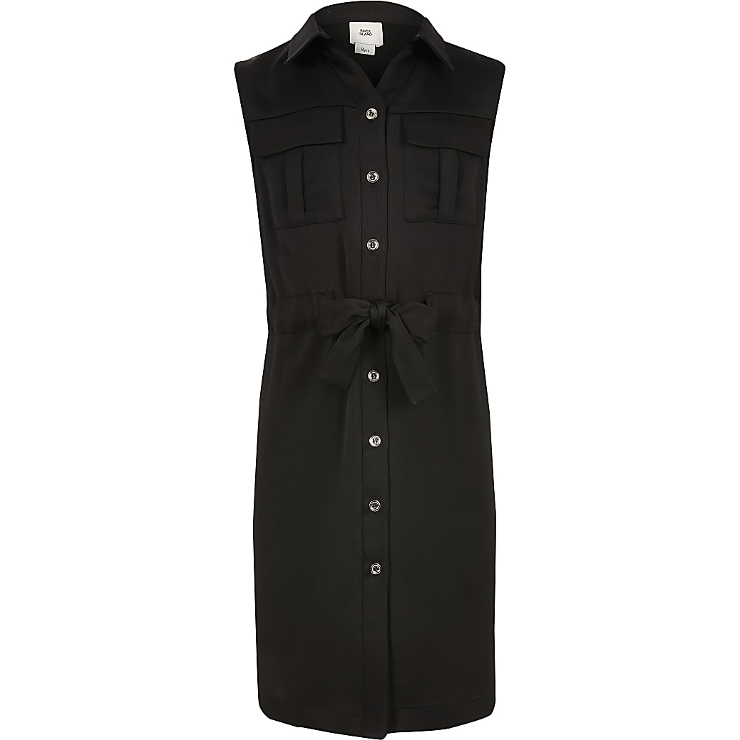 Girls black utility shirt dress