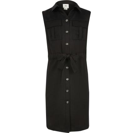 Girls black utility shirt dress