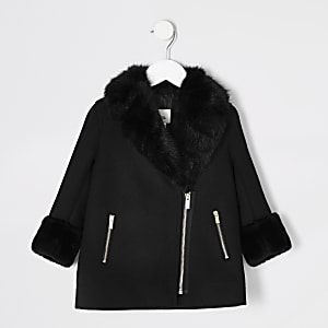 Mini girls black faux fur trim biker coat