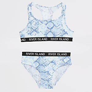 Girls blue snake print crop top and briefs