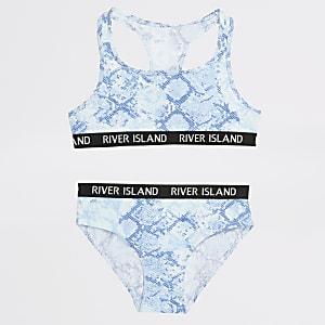 Set aus blauem Crop Top und Slip mit Schlangen-Print