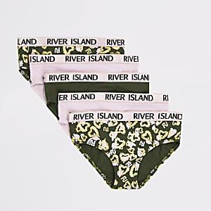 RI – Khakigrüne und pinke Slips mit Herz-Print im Set